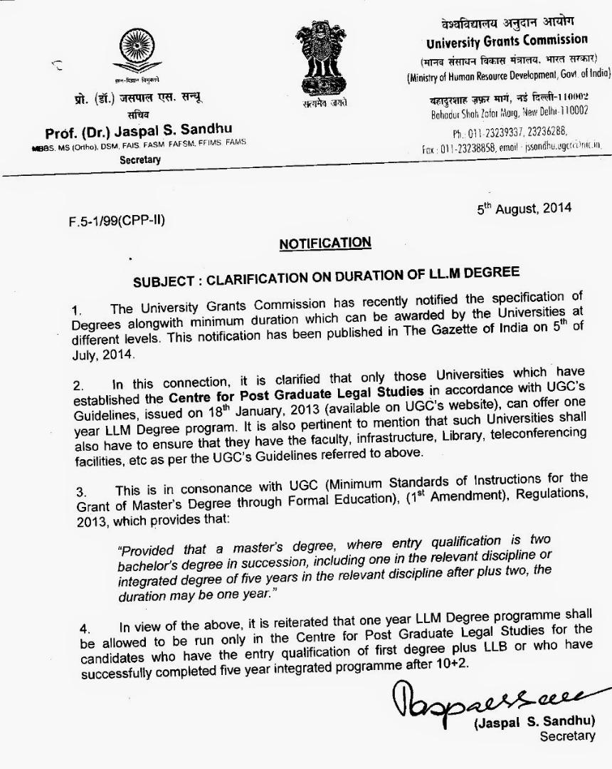 UGC-Clarification-on-Duration-of-LLM-degree