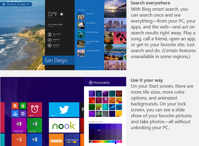 Microsoft Windows 8.1 search features