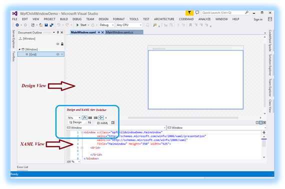 How to create your first WPF application in Visual Studio 2013